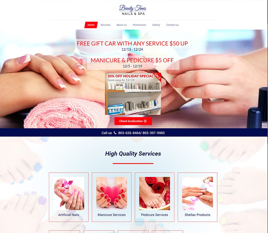 cosmetology portfolio template - beauty times nails and spa best salon websites nail