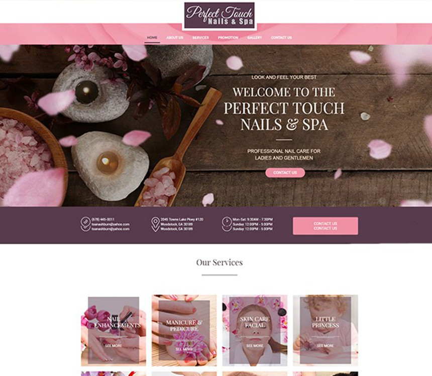 PERFECT TOUCH NAILS & SPA – Best Salon Websites – Nail Template ...
